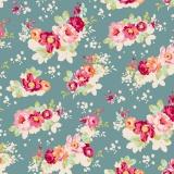 Tissu tilda 110 cm flowercloud teal  - 1 mètre - 26