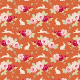 Tissu tilda 110 cm rabbit & roses ginger - 1 mètre - 26