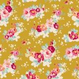 Tissu tilda 110 cm flowercloud olive - 1 mètre  - 26
