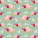 Tissu tilda 110 cm rabbit & roses teal - 1 mètre  - 26