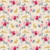 Tissu tilda 110 cm rabbit & roses slate - 1 mètre  - 26