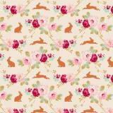 Tissu tilda 50x55 rabbit & roses linen  - 26