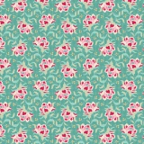Tissu tilda 110 cm x 5 m clown flower teal - 26