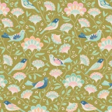 Tissu tilda 1m x 110cm bird tree green - 26