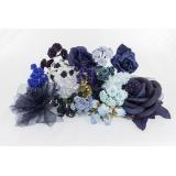 Assortiment de 10 modèles fleurs nuance bleu - 265