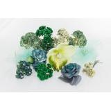 Assortiment de 10 modèles fleurs nuance vert - 265