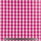 Tissu vichy popeline coton 10/10mm fuchsia