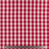 Tissu vichy popeline coton 10/10mm rouge