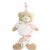 Doudou ours musical rose 20 x 12 cm