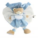 Doudou ours hochet bleu