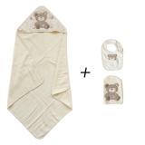 Set cape de bain, gant, bavoir ours beige/écru