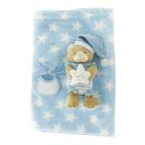 Ours (20 cm) + couverture bleu (100 x 80 cm)