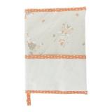 Protége carnet de santé à broder lapins - orange
