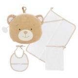 Kit trousse ours : bavoir serviette, gant blanc