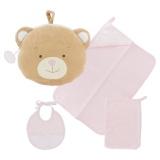 Kit trousse ours : bavoir, serviette et gant rose