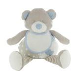 Doudou ours bleu plus bavoir