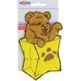Motif à coudre ours dans poche jaune