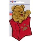 Motif à coudre ours dans poche rouge