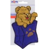 Motif à coudre ours dans poche bleu