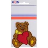 Motif à coudre ours avec coeur pm