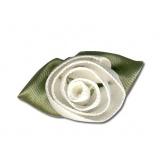 Fleur grand modèle x 10 blanc cassé/vert