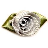 Fleur grand modèle x 10 argent/vert