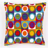 Coussin point lancé cercles multicolores - 4