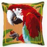 Coussin au point de croix perroquet rouge - 4