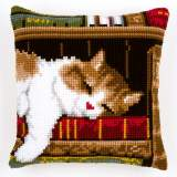 Coussin point de croix chat dormant - 4