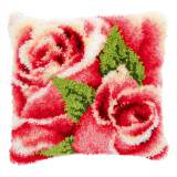 Coussin point noué avec crochet roses roses i - 4