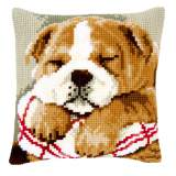 Coussin au point de croix bouledogue dormant - 4