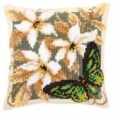 Coussin point de croix papillon vert - 4