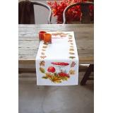 Chemin de table aïda blanc agarics et feuilles - 4