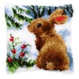 Coussin point noué lapin dans la neige 40x40cm - 4
