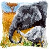 Coussin point noué éléphant avec bébé 40x40cm - 4