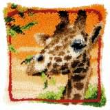 Coussin point noué girafe mangeant feuilles - 4