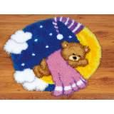 Tapis modelé au point noué ours sur la lune - 4
