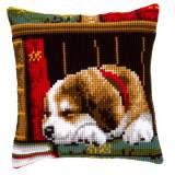 Coussin point de croix chien dormant - 4