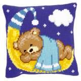 Coussin au point de croix ours sur lune - bleu - 4
