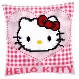 Coussin au point de croix Hello Kitty et coeur - 4