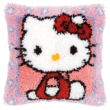 Coussin point noué avec crochet 40/40cmHello Kitty - 4