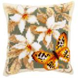 Coussin point de croix papillon orange - 4