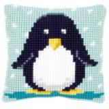 Coussin au point de croix bébé pingouin - 4