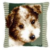 Coussin au point de croix chien brun - 4