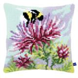 Coussin au point de croix thistle with bumblebee - 4