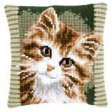 Coussin au point de croix chat brun - 4