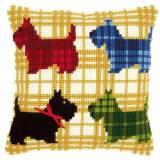 Coussin au point de croix chiens colorés - 4