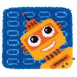 Latch hook shaped tapis funny robot - 4