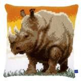 Coussin au point de croix african rhino - 4