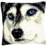 Coussin au point de croix chien esquimau - 4